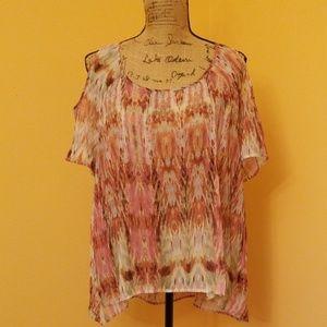 Rock & Republic sheer cold shoulder blouse Z206:6